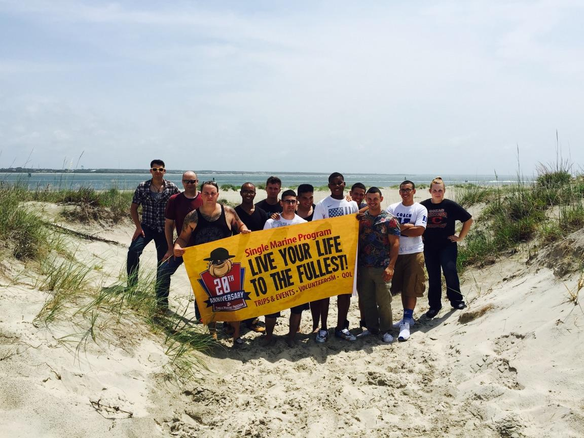 Single Marines participate in the Fort Macon Beach Clean Up