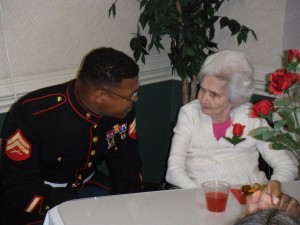 Single Marine with elderly woman
