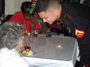 Marine with elderly woman