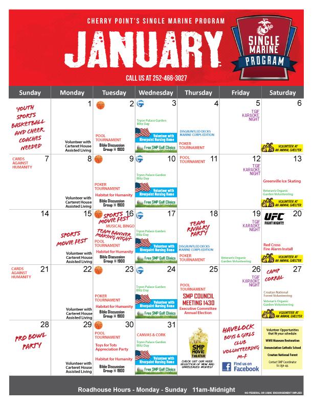 January 2018 SMP Calendar