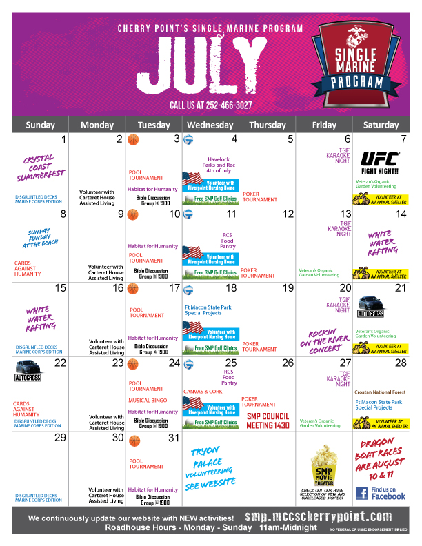 SMP Calendar JULY 2018