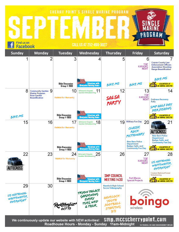 September 2019 SMP Calendar