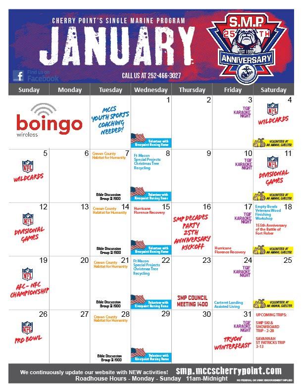 SMP Jan 2020 Event Calendar